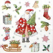 4 Single Table Party Paper Napkins for Decoupage Decopatch Presents from Santa
