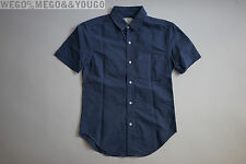 Band of Outsiders BoO Blue Short Sleeve Cotton Button Up Shirt Sz Small S USA