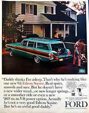 Vtg 1964 Ford Falcon squire car Peanuts Charlie Brown advertisement print ad art