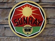 "SunRay Ethyl Gasoline Garage Heavy Metal Sign 14"" Vintage Decor Motor Oil Pump"