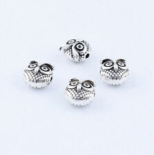 10pcs Tibetan silver Solid Lovely Owl Charms Spacer Beads Fit Bracelet 11x11mm