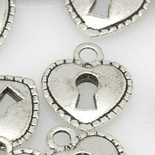 Pack of 10 14x14mm Heart Lock Tibetan Silver Spacer Charms Finding Beads