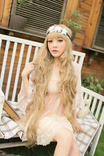 "40"" Very Long Light blonde Gold Princess Cosplay Party Women Heat Resistance Wig"