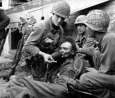 B&W WW2 Photo WWII Wounded German Solider Aided by US