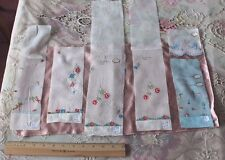 6 Lovely Antique Swiss Hand Embroidered Tiny Doll Scale Samples c1920