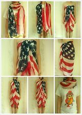 Sexy Women Dress Sarong Beach Bikini Swimwear Cover Up Scarf Wrap USA Flag Pareo