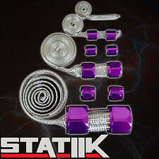 PURPLE STAINLESS STEEL ENGINE HOSE DRESS UP KIT FOR RADIATOR/VACUUM/FUEL/OIL S1