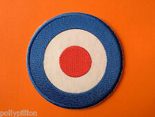 VESPA SCOOTER SEW/IRON ON PATCH:- SMALL BLUE MOD TARGET RAF ROUNDEL