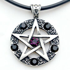 Pentacle Pentagram Star Wicca Pagan Magic Purple-Black Crystal Pewter Pendant