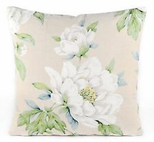 "New Laura Ashley Fabric Cushion Covers 16"" Wisley Natural Floral Linen Cotton"