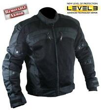 Men's Black Tri-Tex Fabric Level-3 Armored Motorcycle Jacket size XL