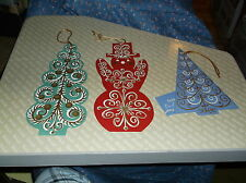 ksm. 3 Vintage Fravessi Lamont Christmas Cards Green Tree is 9 Inch H w/o String