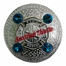 US Firefighter Fly Plaid Brooch Sky Blue Stone/Scottish Kilt Fly Plaid Brooches