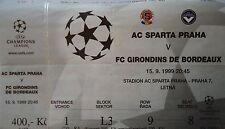 TICKET UEFA CL 1999/00 Sparta Praha - Girondins Bordeaux