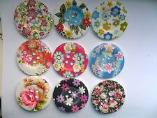 6 pcs  Mixed  Extra Large Patterned Wood  Scrapbooking / Sewing Buttons  50mm 2""