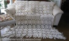 Vintage Ecru Floral Pinwheel Crochet Bedspread Throw Queen Full Twin 74x90