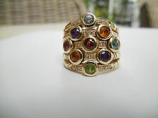 Sonia Bitton 14k Yellow Gold Diamond Multi-Gemstone 5-Row Flex Ring - 6.5. EUC