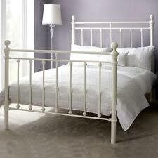 NEW HANNAH IVORY DOUBLE BEDSTEAD WHITE METAL TOP QUALITY DOUBLE BED EU MADE