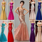 SEQUINS New Long Prom Dress Formal Bridesmaid Evening Party Mermaid Ball Gowns