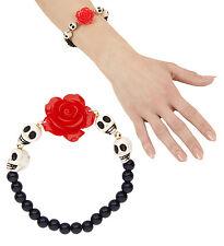 Messicano giorno dei Morti rose e teschi perline braccialetto gioielli halloween