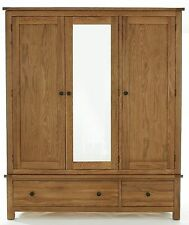 Holmfield solid oak bedroom furniture triple wardrobe with mirror