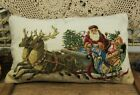 "20"" VTG Hand Stitched Needlepoint Pillow Santa Claus Delivering Gifts Wonderful"