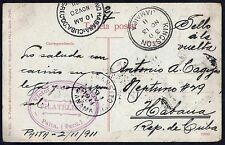 PERU 1911 PAITA POST CARD TO HAVANA VIA PANAMA & KINGSTON JAMAICA