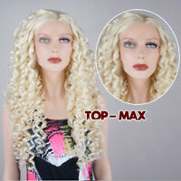 Blonde Curly Long 60 CM 24 Inches Lace Front Wig Heat Resistant Hair + Wig Cap