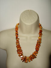 Vintage Baltic Amber Beautiful Huge Egg Yolk Butterscotch Necklace Silver Clasp