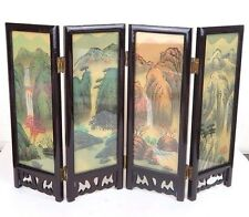 """Chinese Folding Glass Screen Picture Art Flowers Birds Landscape 9.5"""" x 13"""" New"""