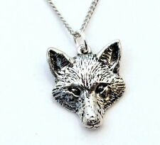 Fox's Head Necklace in Fine English Pewter, Handmade, Gift Boxed (ab-C)