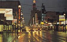 Photo. 1965-6. Vancouver, Canada. Granville St - evening
