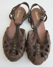Sketchers Brown Leather Ankle Strap Comfort Walking Sandal Women's Size 9