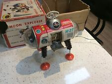 1960s MOON EXPLORER M-27 vintage retro  Tin Clockwork Astronaut Space Toy Japan