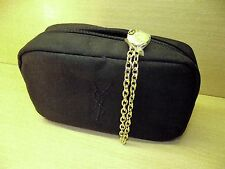 YSL MAKE UP BAG - 100% GENUINE YVES SAINT LAURENT MAKE UP BAG - BLACK/GOLD CHAIN