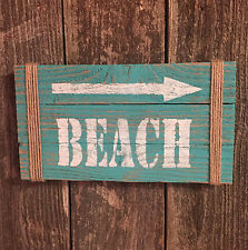 BEACH House Sign Nautical Arrow Country Cottage Bar Pub Rustic Wood HP Decor USA