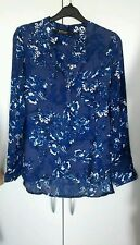 Ladies Dark Blue Floral V Neck Long Sleeve Shirt Size 6 BNWT