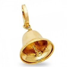 Solid 14k Yellow Gold Bell Pendant Charm Diamond Cut Fashion Design Genuine