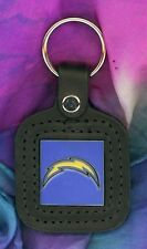 San Diego CHARGERS Logo Pewter/Enameled Leather Key FOB