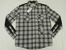 $55 NWT NEW Mens Ecko Unltd Button Down Shirt Pieced Plaid Woven Urban Sz L K426