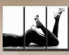 OIL PAINTING MODERN ABSTRACT WALL DECOR ART CANVAS, Sexy woman 3PC- Unframed