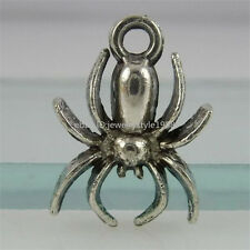 12421 50PCS Alloy Vintage Antique Silver Tone Insects Spider Pendant Charms