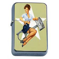 Windproof Refillable Fliptop Oil Lighter Classic Vintage Model Pin Up Girl D-087