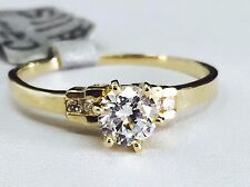 14K YELLOW GOLD FANCY SOLITAIRE ENGAGEMENT RING WITH CUBIC ZIRCONIA,size 7.25