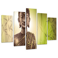 5 Part Buddha Canvas Pictures Lime Green Wall Art Bedroom Prints 5100