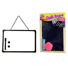 A4 Whiteboard AND Chalkboard Blackboard Office Memo Chalks Duster Pen & Eraser