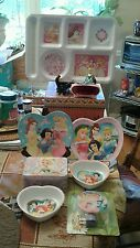 TEN PIECE DISNEY PRINCESS PLATES,BOWLS,BACKPACK& ALARM CLOCK,NITE LITE, TRAY,BOX