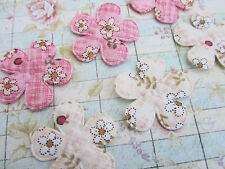 50 Pink & Ivory Daisy Floral Cotton Fabric Flower Applique/doll/trim/Bow H347