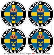 SCHWEDEN Schwedisch Geboren & Stolz SVERIGE 50mm Auto Aufkleber x4 Stickers