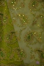 Paisley Coco avocado embroidery Sequins Sheer Polyester dress apparel fabric 54""